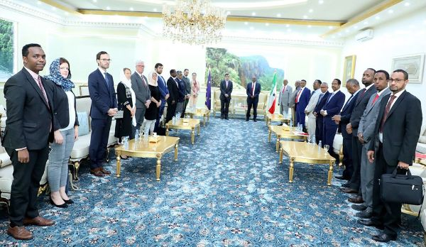 President Bihi Receives International Community at the Presidential Palace