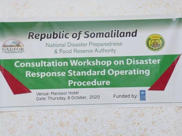 Hay'adda NADFOR ayaakulan kusaabsan wada tashiga Saameynta Habraaca Gurmadka Aafooyinka (Consultation Workshop on Disaster Response Standard Operating Procedure) uqabatay hayadaha ay wada shaqeynta le